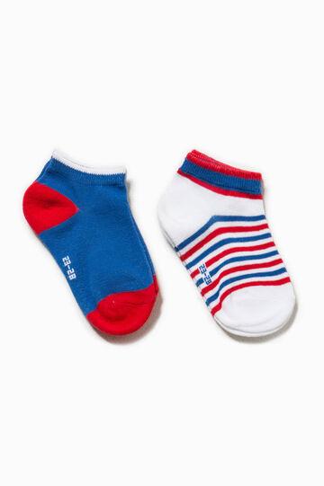 Set due paia di calze corte unito e righe, Bianco/Blu/Rosso, hi-res