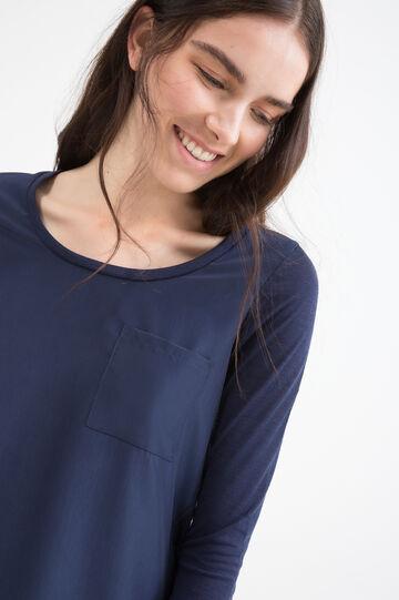 T-shirt misto viscosa taschino, Blu, hi-res