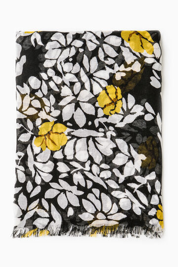 Floral patterned scarf, Black/Yellow, hi-res