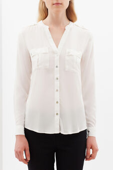 Semi-sheer shirt with pockets, White, hi-res