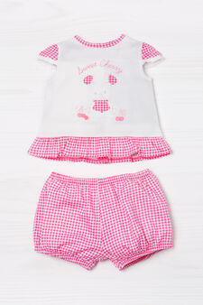 Checked T-shirt and trousers outfit, White/Pink, hi-res