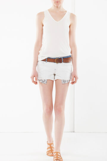 Distressed denim shorts, White, hi-res