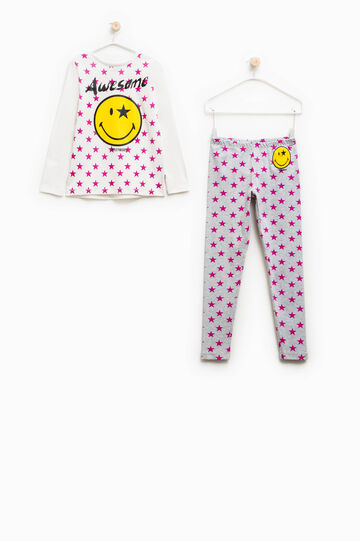 Pijama en algodón 100% con estampado de estrellas, Blanco/Gris, hi-res