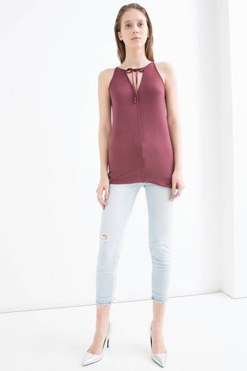 Stretch viscose top with laces, Wine Purple, hi-res