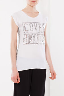 Sequinned T-shirt, White, hi-res
