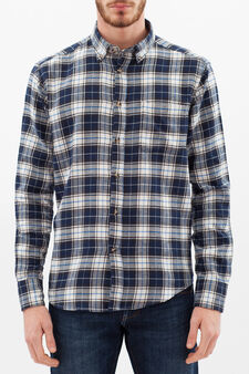 Regular check shirt in cotton, White/Blue, hi-res