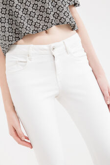 Skinny fit stretch jeans with matching colour stitching, Milky White, hi-res