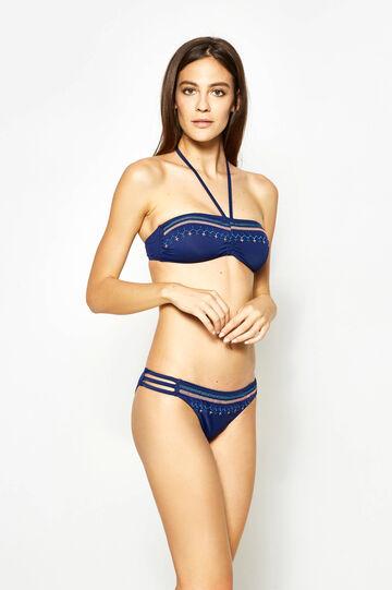 Stretch swim briefs with embroidered waist