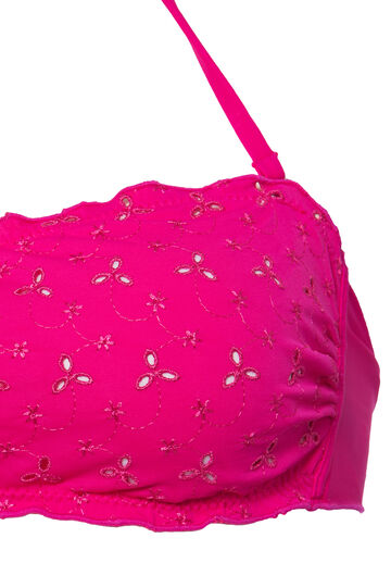 Solid colour openwork bandeau top, Fuchsia, hi-res