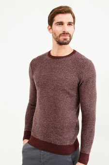 Mélange knitted pullover with elbow patches, Claret Red, hi-res