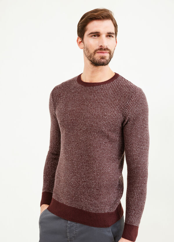 Mélange knitted pullover with elbow patches | OVS