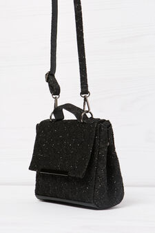 Shoulder bag with glitter, Black, hi-res