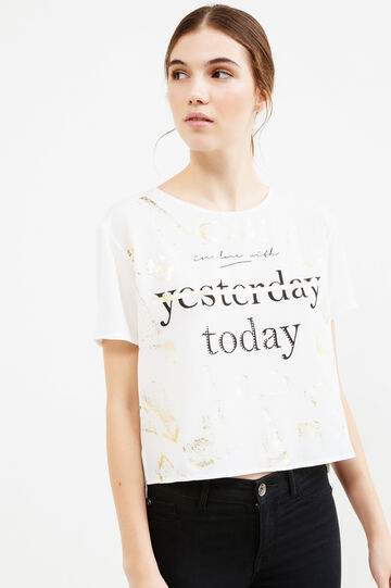 Crop T-shirt with print and diamantés, Cream White, hi-res