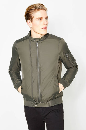 Solid colour bomber jacket with pockets