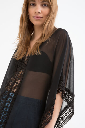 Semi-sheer openwork blouse, Black, hi-res