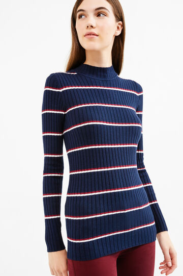 Striped cotton and wool blend pullover, White/Blue, hi-res