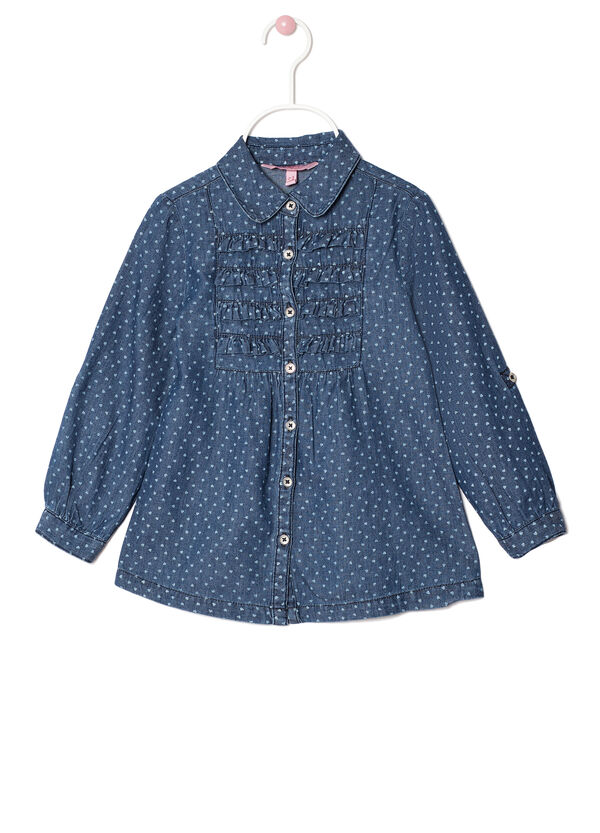 Camicetta in chambray con rouches | OVS