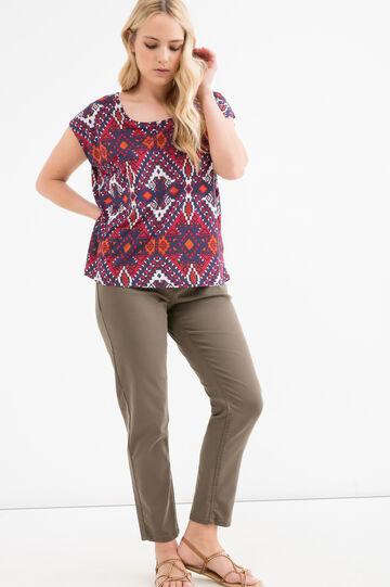 T-shirt in pura viscosa Curvy, Marrone khaki, hi-res