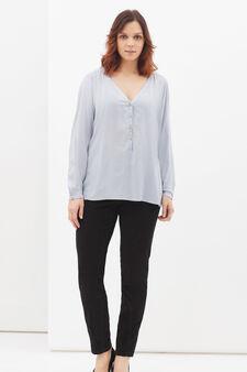 Curvy blouse in viscose blend, Azure, hi-res