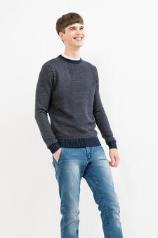 Knitted G&H fantasy pattern pullover, Navy Blue, hi-res