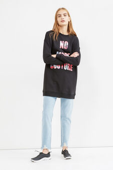 Long cotton sweatshirt with printed lettering, Black, hi-res