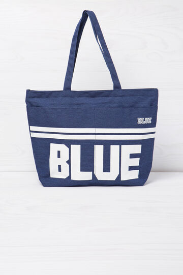 Shopping bag in cotone con stampa, Blu, hi-res