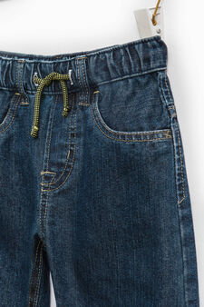 Jeans with elastic waist band and drawstring., Brown, hi-res