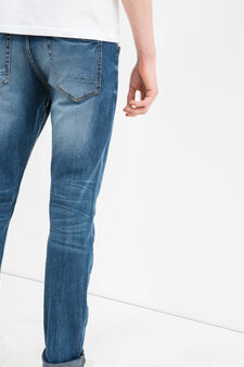 Worn-effect stretch jeans with whiskering, Medium Wash, hi-res