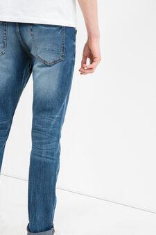 Jeans stretch effetto used baffature, Lavaggio medio, hi-res