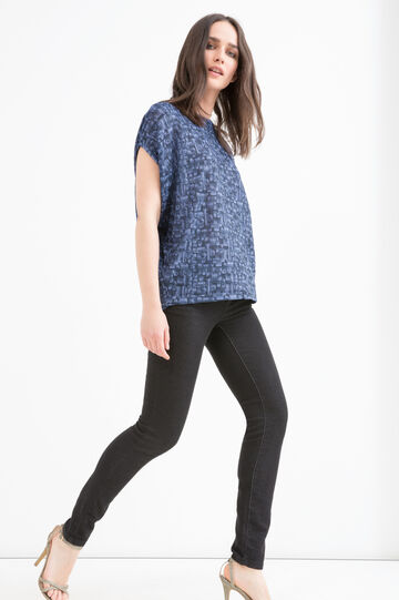 Patterned T-shirt with kimono sleeves, Blue, hi-res
