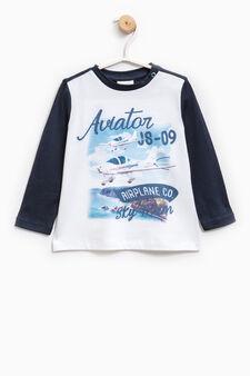 Cotton blend T-shirt with maxi print, Soft Blue, hi-res