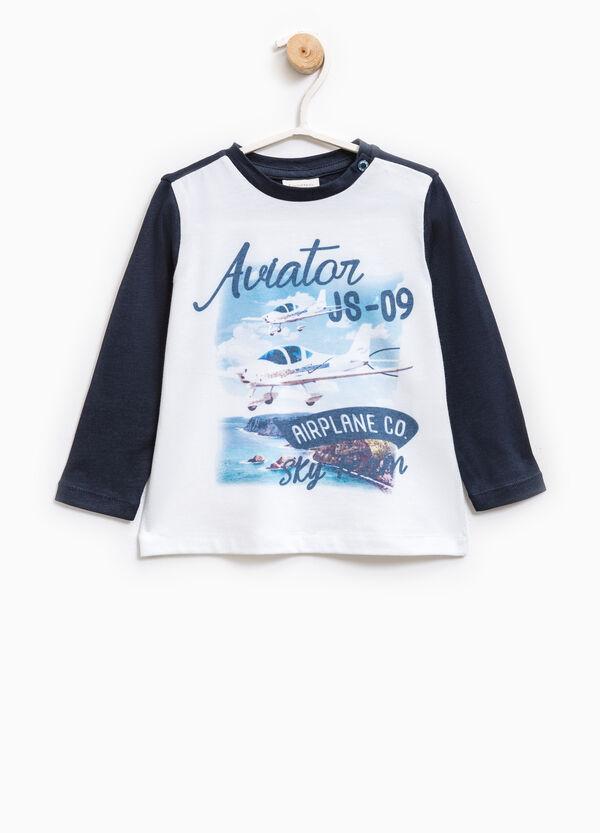 Cotton blend T-shirt with maxi print | OVS