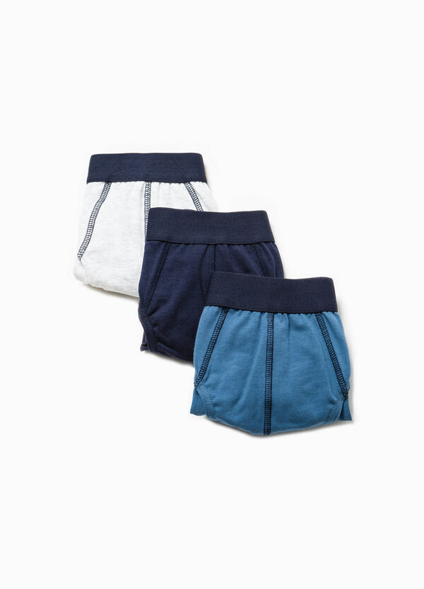 Three-pack solid colour stretch cotton briefs | OVS