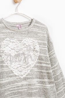 Striped pullover with lace, Grey Marl, hi-res