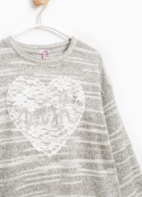 Striped pullover with lace | OVS