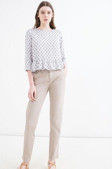 Solid colour stretch cotton trousers, Khaki, hi-res
