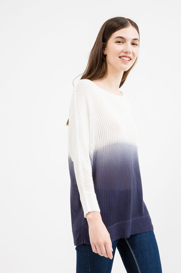 Knit openwork degradé pullover, White/Blue, hi-res