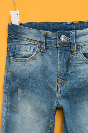 Washed-effect stretch denim Bermuda shorts, Denim, hi-res