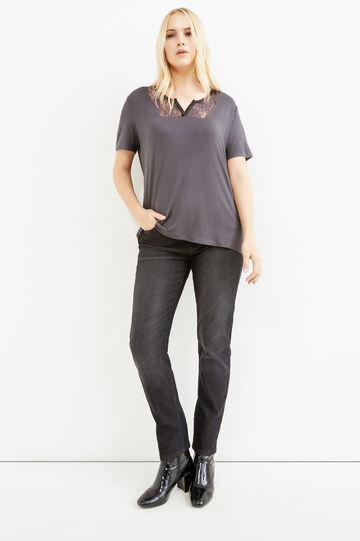Curvy stretch viscose T-shirt with lace, Chocolate Brown, hi-res