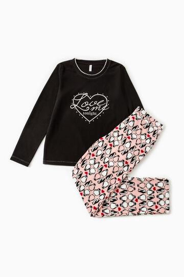 Fleece pyjamas with penguin pattern, Black, hi-res