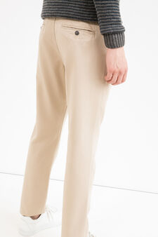 Solid colour regular-fit chino trousers, Beige, hi-res
