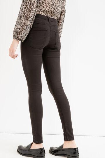 Solid colour stretch cotton trousers, Black, hi-res