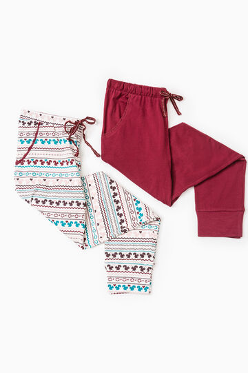Set of two pyjama bottoms with lace, Claret Red, hi-res