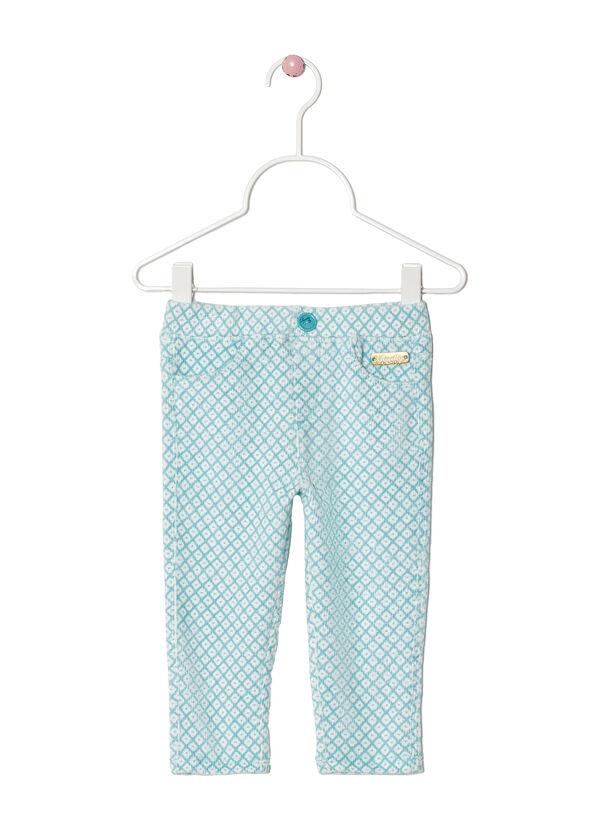 Pantalón en terciopelo elástico con estampado de fantasía | OVS