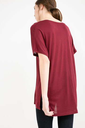 100% viscose T-shirt with wide neckline, Red, hi-res