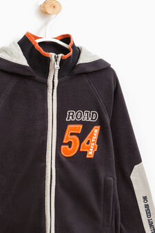 Cotton hoodie with patch and printed lettering, Black, hi-res