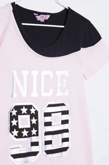 Completo in cotone t-shirt e leggings, Nero/Rosa, hi-res
