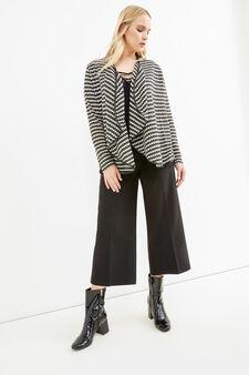 Curvy striped cardigan in stretch viscose, Black, hi-res