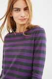 100% cotton striped T-shirt with splits, Purple, hi-res