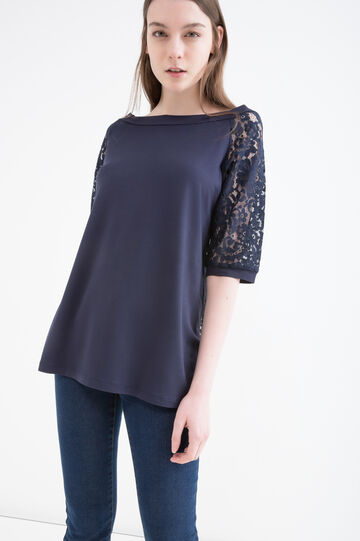 T-shirt viscosa stretch con pizzo, Blu, hi-res